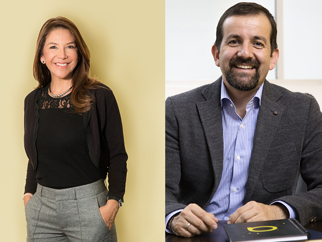 Nancy Sánchez, CEO de Milenium Group; Juan David Pinzón, presidente de Ariadna Communications Group. (Foto de Juan David Pinzón: Revista P&M/Pablo Andrés Carvajal).